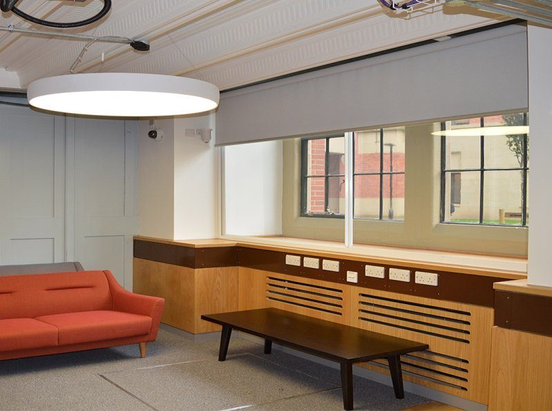 University of Birmingham student study area with secondary glazing installed by Selectaglaze