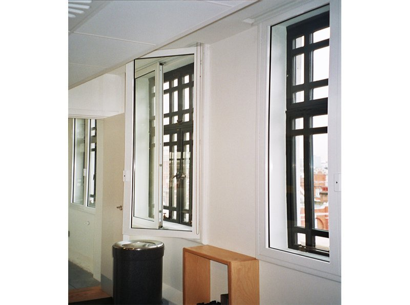 BBC Radio Gallery with hinged casement internal windows against Art Deco leaded primary glazing