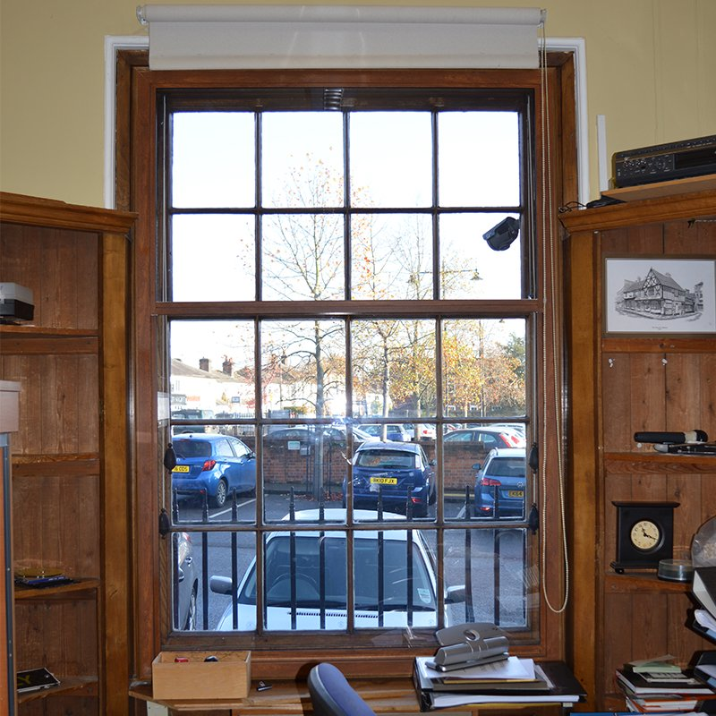 Braintree Town Hall administration office with thermally enhancing wood grain effect Selectaglaze secondary glazing
