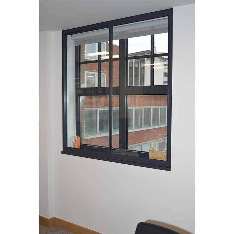 Selectaglaze matt grey secondary glazing for acoustic reduction