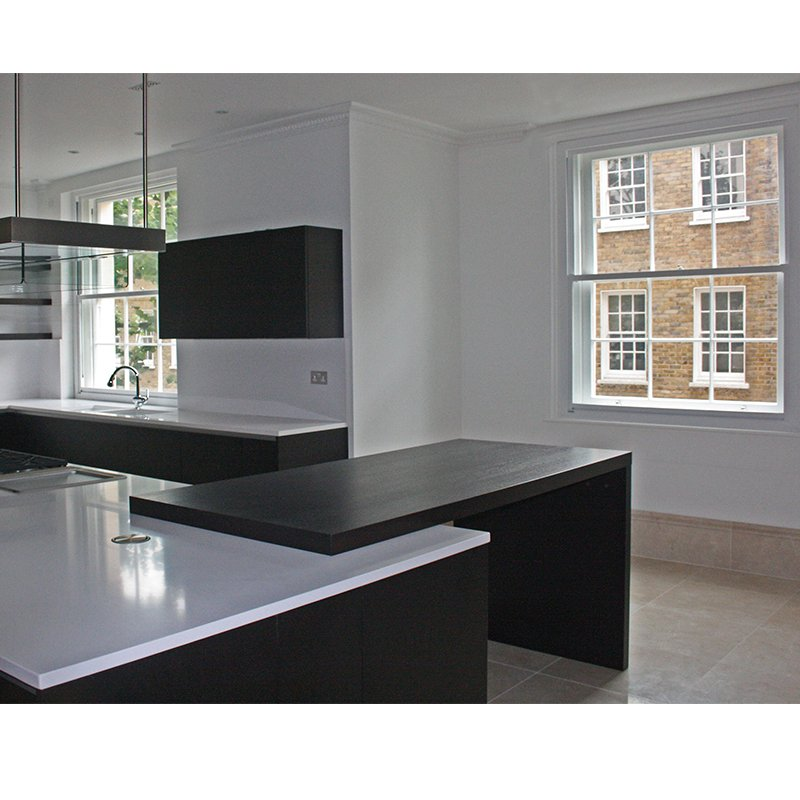 Kitchen with secondary glazing in Grade 1 Listed regency apartment