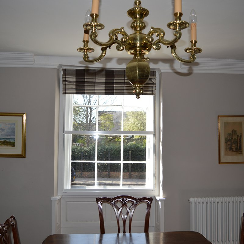 Noise reduction secondary glazing in the dining room at Neville House