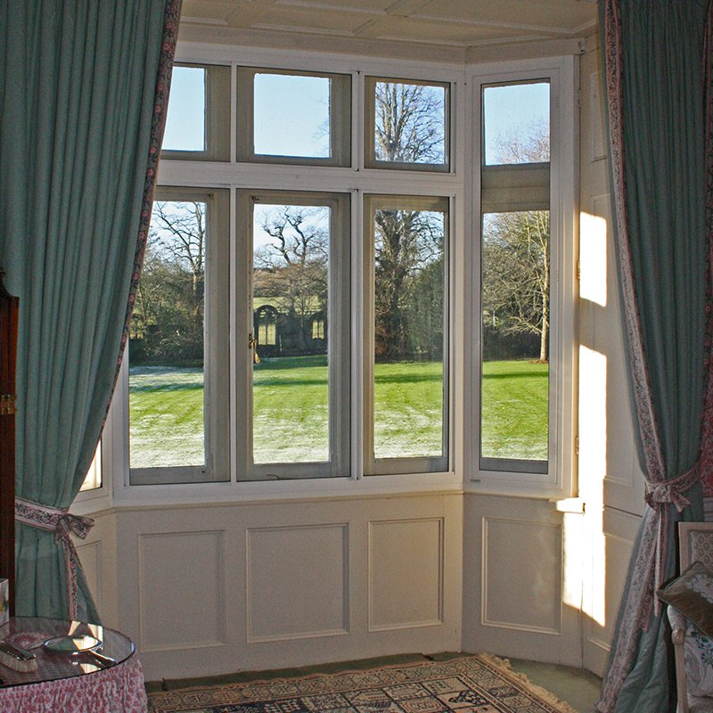 Grade II* Listed Denton House ground floor bay window with secondary glazing