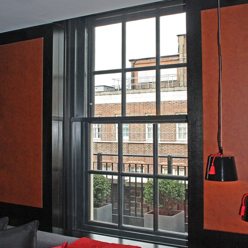 Sash window insulation at Grosvenor House - series 60 tilt in secondary glazing