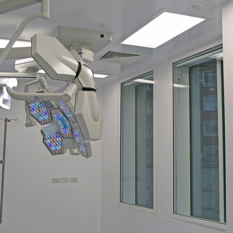 Barts operating theatre with black out blinds housed in secondary glazing