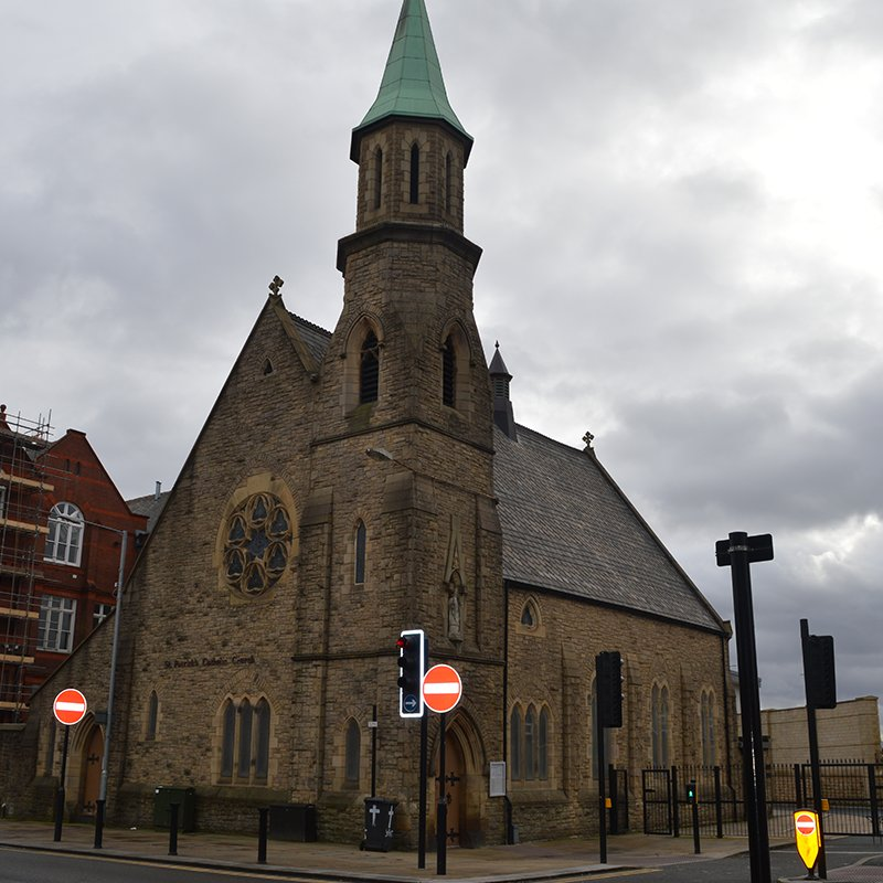 External view of St Patrick's Church in Bolton