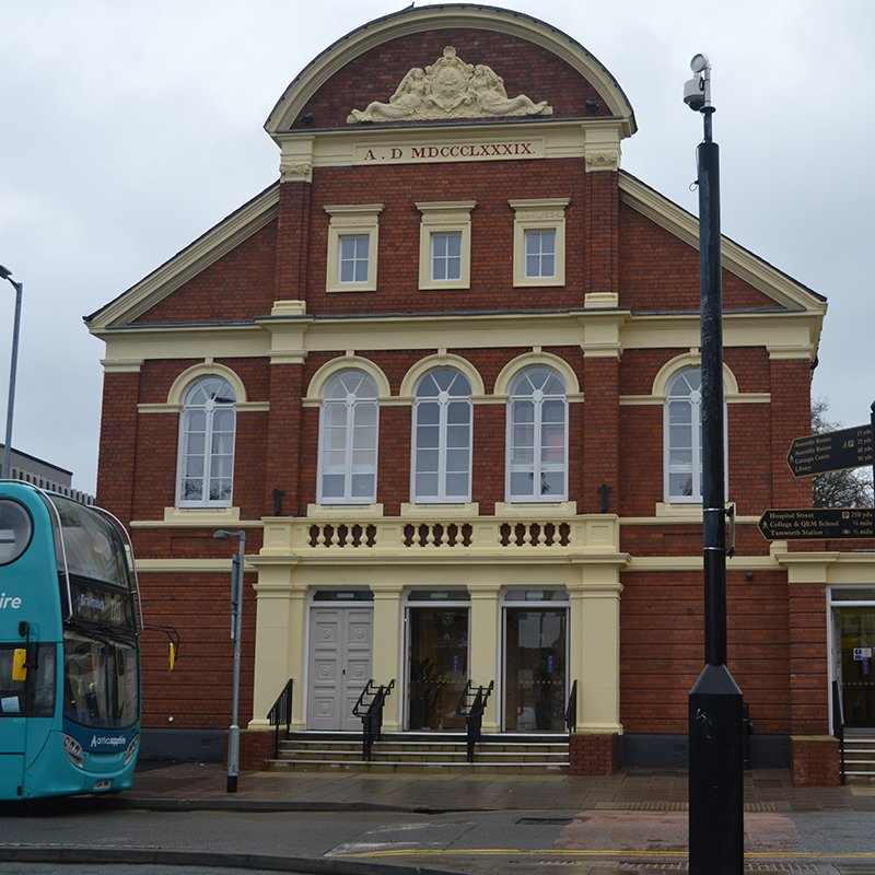 External image showing bus terminal outside Tamworth Assembly Rooms theatre auditorium