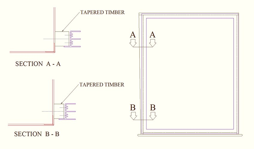 tapered reveal - diagram showing how timbers can correct taper