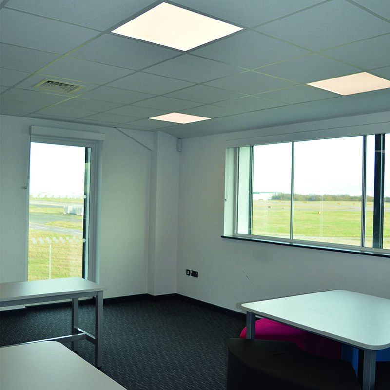 Selectaglaze acoustic secondary glazing in a teaching room at Stansted Airport College