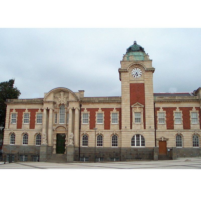 Barry Town Hall front facade with clock tower