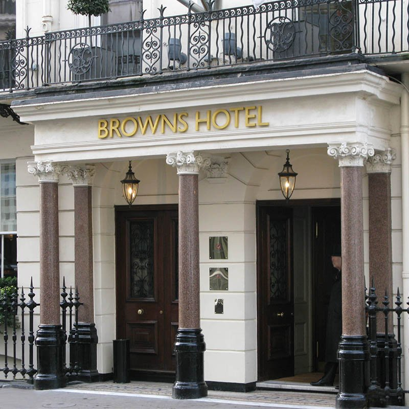 Facade of Browns Hotel, on busy thoroughfare