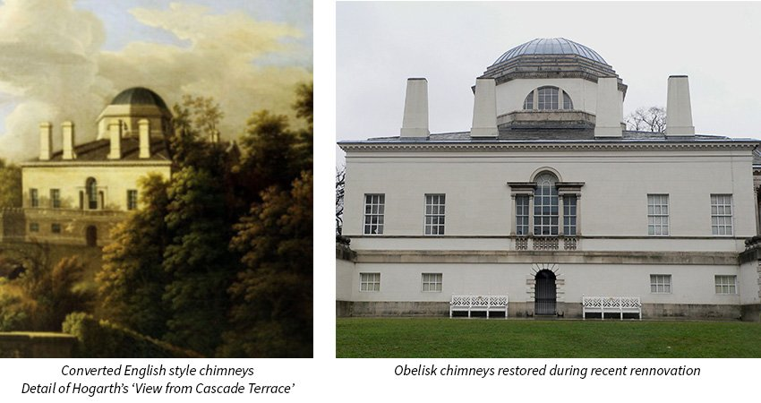 Converted English style chimneys at Chiswick House V the reinstated original designed obelisk chimneys