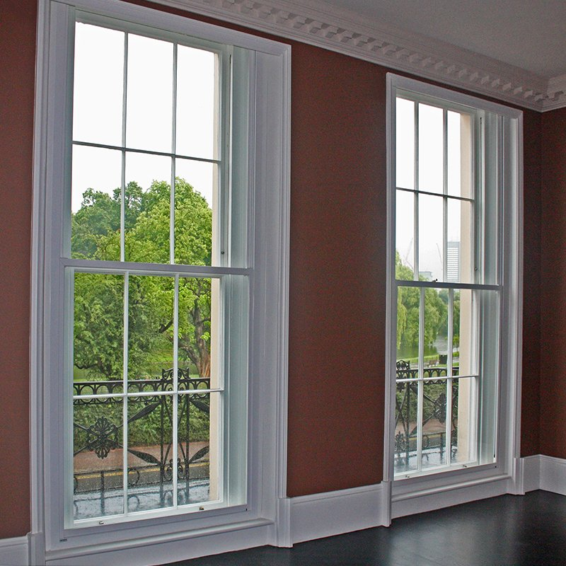 Cornwall Terrace large series 90 vertical sliding sash windows, grade 1 listed regency buildings