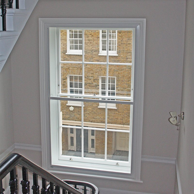 Secondary glazing in the stairwell - Cornwall Terrace