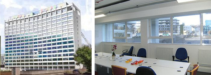 The external view of the office block and internal offices which were to be converted to residential units. Secondary glazing was installed to improve the acoustic window insulation