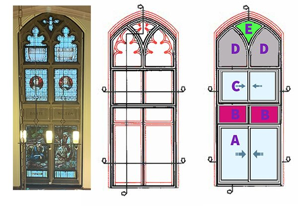 A diagram showing the build up of the secondary glazed units to complete the treatment of the 3 imposing gothic arched primary windows