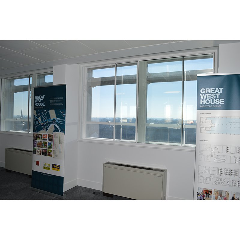 Windows with secondart glazing to help improve the thermal and acoustic performance in the marketing suite 6th floor