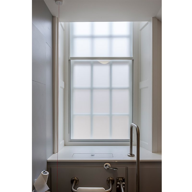 Selectaglaze series 25 vertical sliding secondary glazing Chapter House bathroom