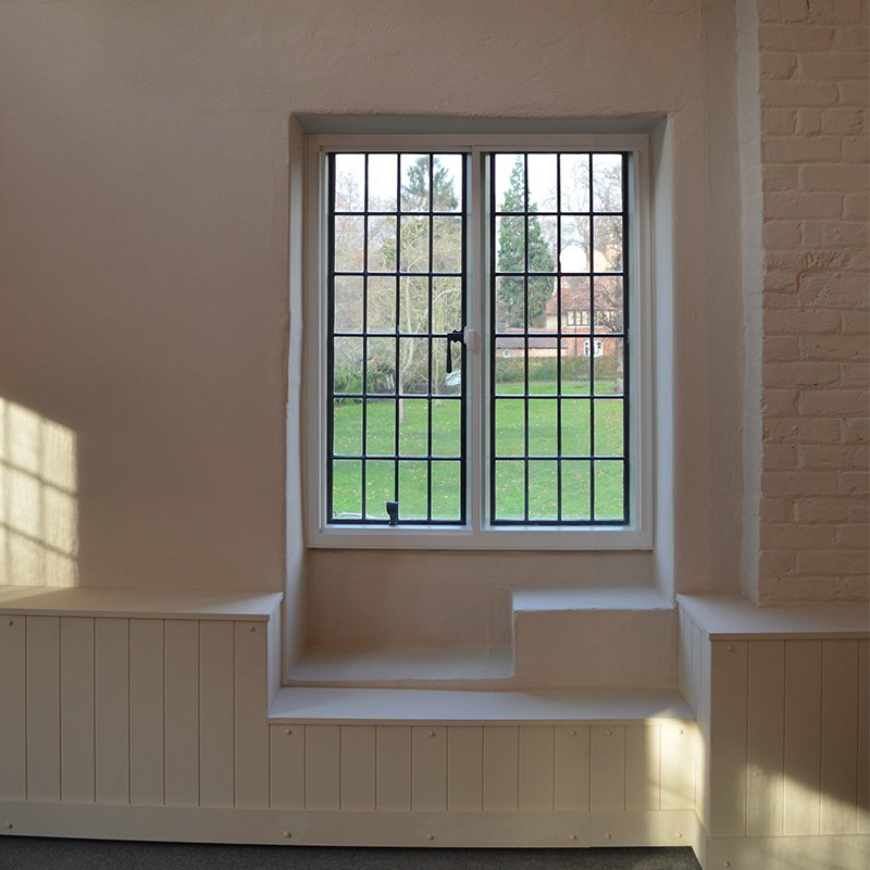 Beautiful original Tudor glazing supplemented with Selectaglaze secondary glazing to enhance thermal efficiency
