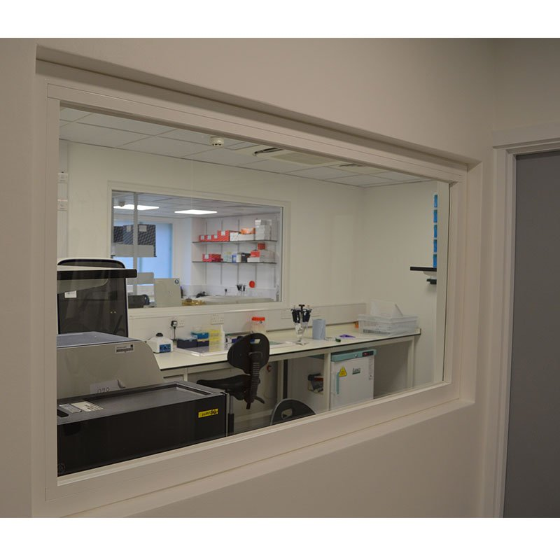 Internal secondary glazing to viewing panel into PsiOxus research laboratory