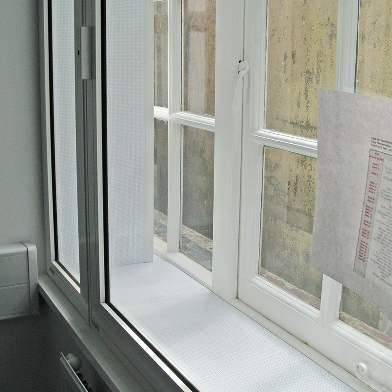 Close up of Selectaglaze secondary glazing at City University for noise insulation