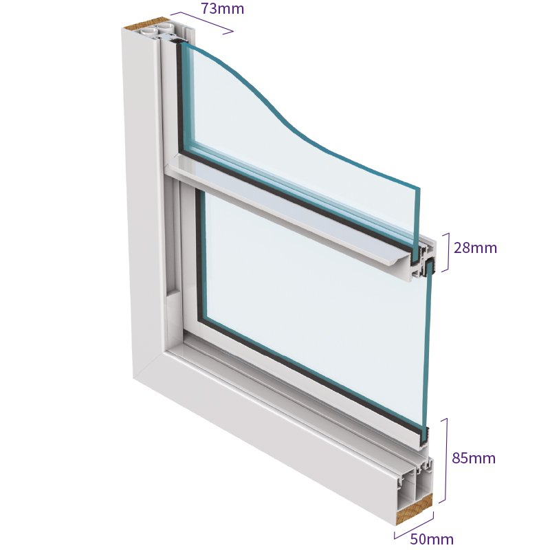 Series 25 Mid-range vertical sliding secondary glazing isometric