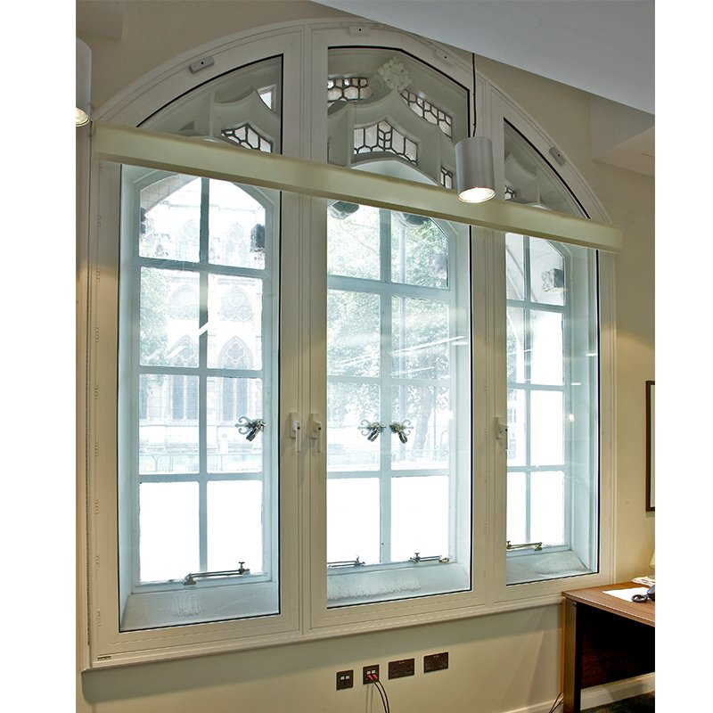 Arched secondary glazing series 50 hinged casement in the Supreme Court admin office