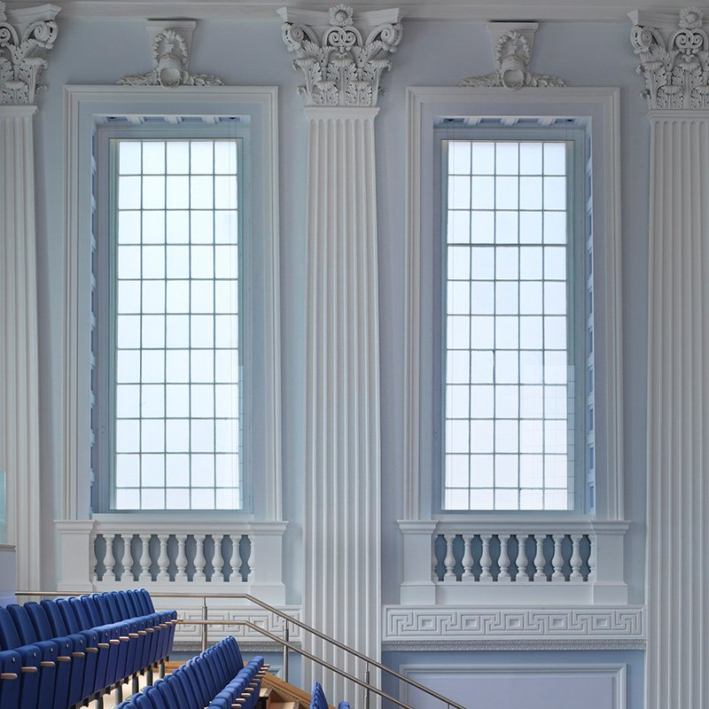 Birmingham Town Hall 2 large series 50 hinged casement secondary glazed windows for noise containment