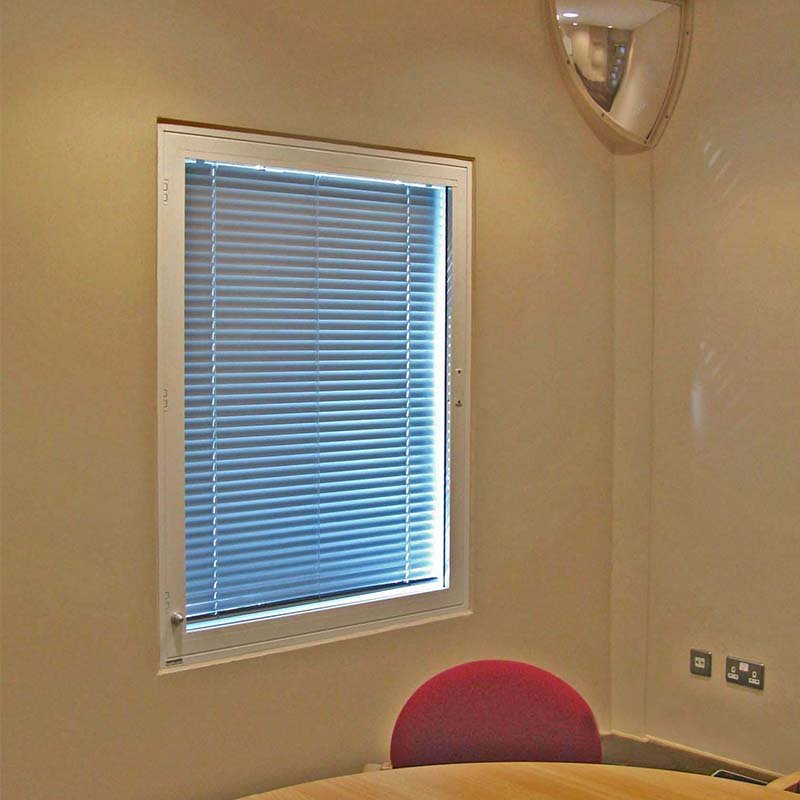 Smyth House integral Venetian blinds with anti ligature controls, within secondary glazing units by Selectaglaze