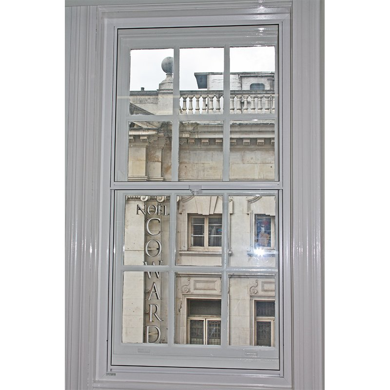 St Martins Lane Series 20 installation: Vertical sliding secondary glazing unit