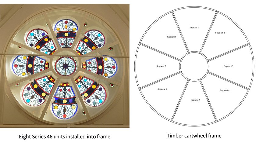 Stained glass rose window and diagram of timber cartwheel frame - SG