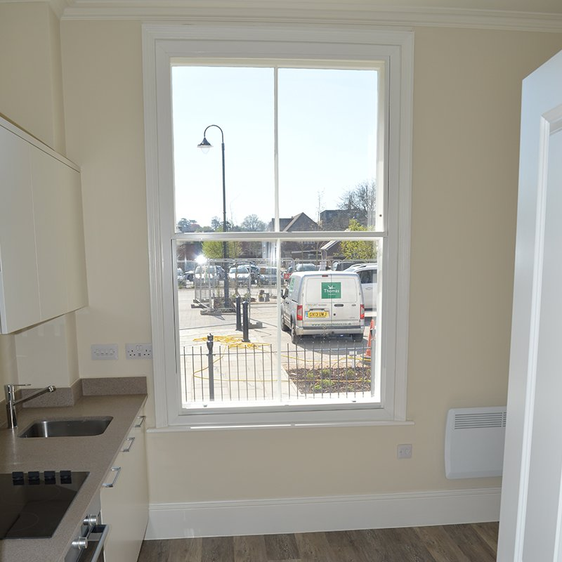 Noise reducing secondary glazing in the kitchen of a Listed Georgian Property