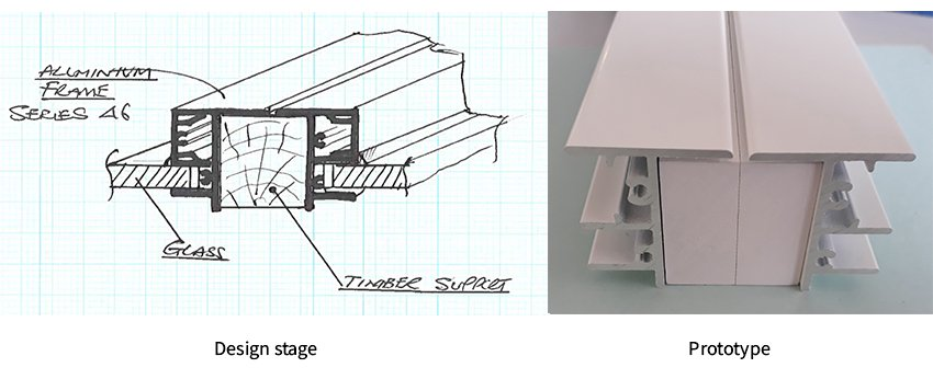 Timber support mullion diagram and prototype