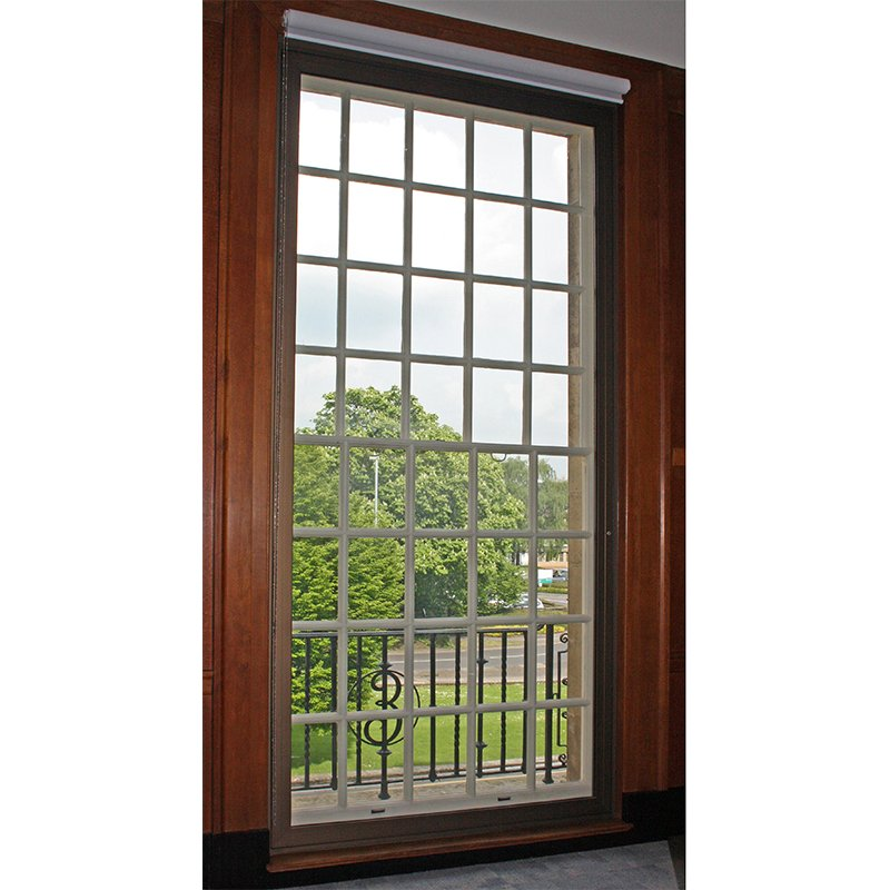Wiltshire County Hall with wood grain effect secondary glazing for thermal retention which reduces energy bills