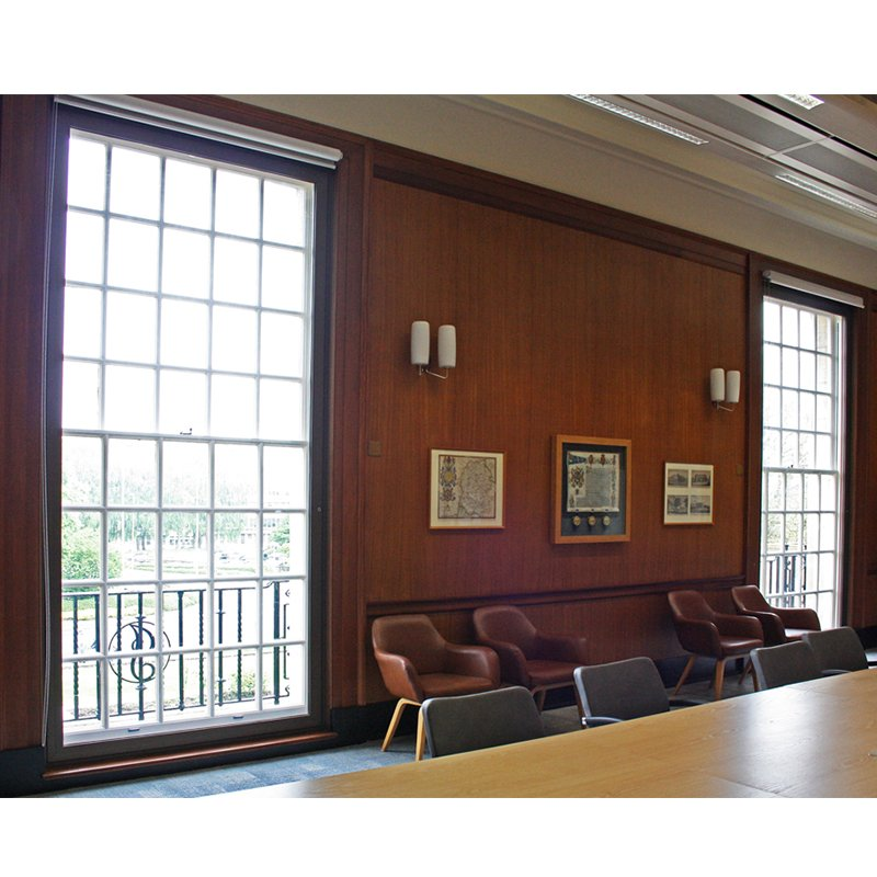 Selectaglaze secondary glazing with wood grain finish, in a meeting room in Wiltshire Town Hall