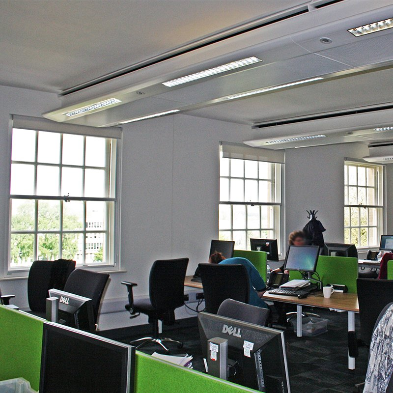 Open plan office at Wiltshire County Hall with Selectaglaze secondary glazing
