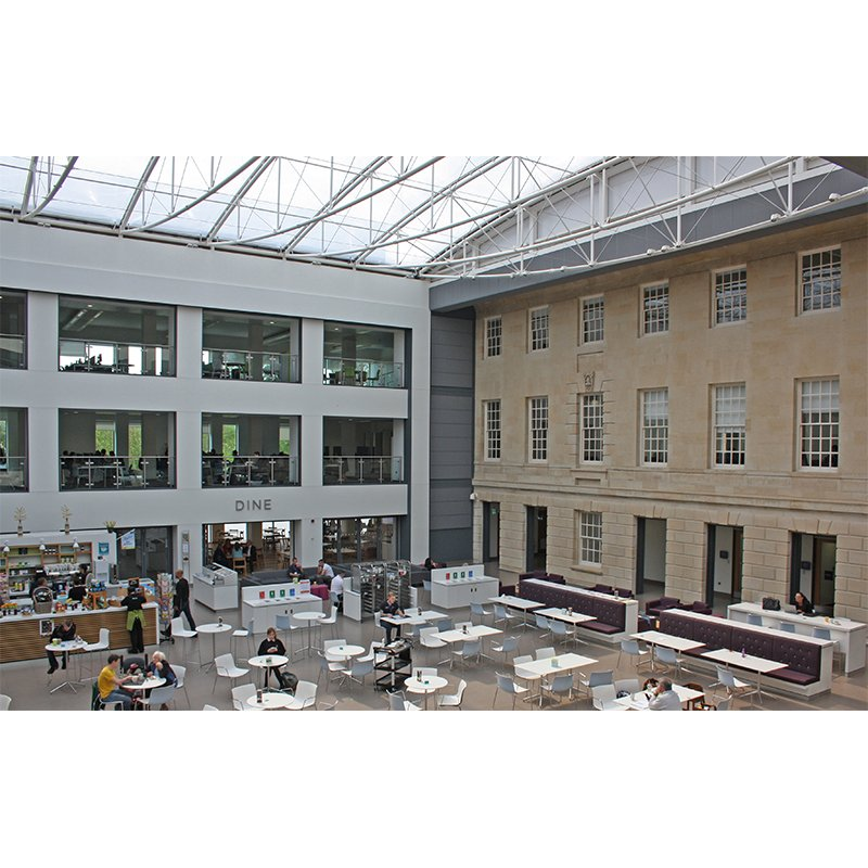 Old and new atrium at Wiltshire County Hall - BREEAM excellent rated
