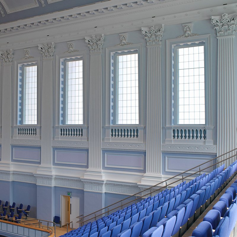 Monumental side hun casements at Grade 1 Listed Birmingham Town Hall for noise and thermal insulation